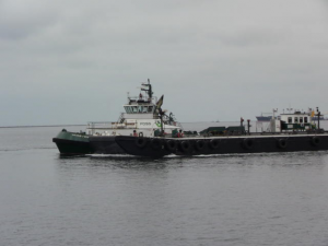 One of several hybrid diesel and electric tugs.