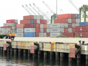 These containers just came off a ship and are ready for further processing.